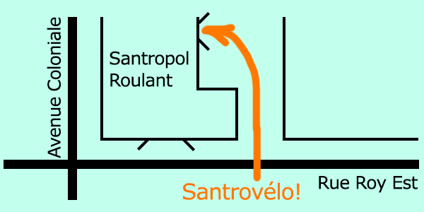 Graphic showing the side entrance to Santrovelo bike shop