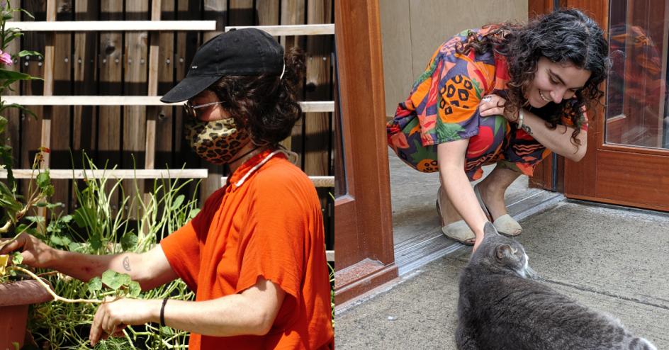 à gauche, magali fait les semis en portant un chandail orange. à droite, aidan est accroupie et flatte un chat dans l'entrée du Roulant